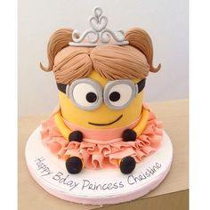 Princess Minion Cake - For all your cake decorating supplies, please visit… Minion Torte, Bolo Minion, Minion Cakes, Girl Minion Cake, Cupcake Minions, Minion Birthday, Birthday Cake Girls, Sister Birthday, Happy Birthday