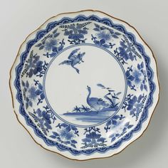 Twelve-sided plate with geese and flowering plants, anonymous, c. 1680 - c. 1710 - Rijksmuseum