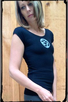 Squeezed Yoga Clothing Black Stretch Tee with OM