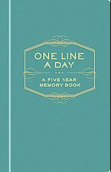 One Line A Day journal: The 365 daily entries appear five times on each page, allowing users to revisit previous thoughts and memories over five years as they return to each page