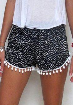 Black Floral Print Tassel Elastic Summer fashion Style Waist Bathroom Beach Cotton Shorts