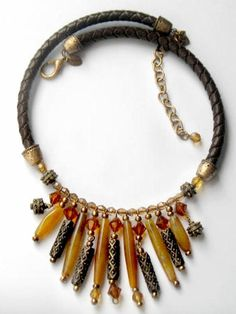 Chicos Tribal Necklace Leather Faux Stone Ethnic Fashion Signed Vintage Statement Collectable Jewelry via Etsy Modern Jewelry, Jewelry Art, Antique Jewelry, Vintage Jewelry, Art Necklaces, Statement Necklaces, Metal Beads, Gold Beads, Handmade Accessories