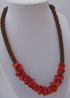 Kumihimo red chip necklace