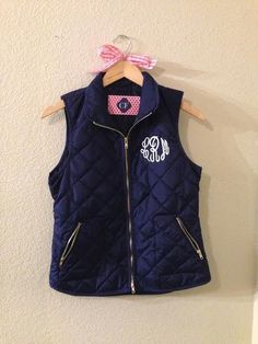 Monogram plush vest available in navy, black, gray, red, and white with different fonts and font colors