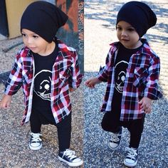 Punk rock fashion for toddlers.