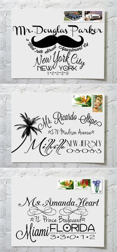 Dashingly Chic Calligraphy Envelope Addressing  by  ilulily @ etsy  #calligraphy  #typography  #address  https://www.etsy.com/ca/listing/111334883/the-hilary-dashingly-chic-calligraphy