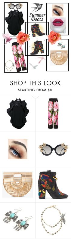 """""""🌞Summer booties🌞"""" by maijah ❤ liked on Polyvore featuring Junya Watanabe Comme des Garçons, Dolce&Gabbana, Alice + Olivia, Cult Gaia, Laurence Dacade, Timorous Beasties and Lulu Frost"""