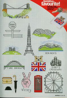 British motifs -- London eye ferris wheel, flag, bulldog, etc