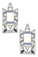 Tribebyamrapali-Silver Triangle Pyramid Rectangular Dangle Earrings