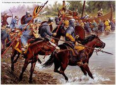 Caroligian cavalry attack on Viking raiders,late 9th century.