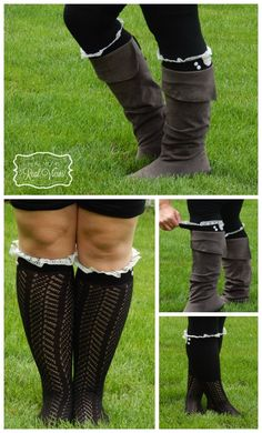 """Grace and Lace has the cutest boot socks!  Plus they also accommodate muscularly blessed legs.  My calves are 17"""" and there is still room to spare!"""