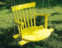 Another beautiful idea for the garden... a stylish swing for the little ones - If one of your chairs has lost its legs... why not take the rest of them off!