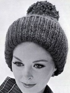 Giant Rib knit pattern from High Fashion Hats, originally published by Bernhard Ulmann, Volume 62, in 1961.