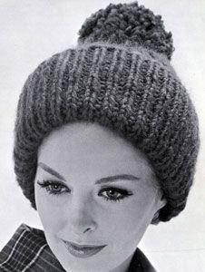 Giant Rib knit pattern from High Fashion Hats, originally published by Bernhard Ulmann, Volume 62, in 1961.