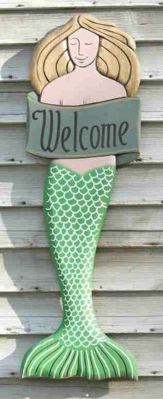 Nautical Decor, Hand Carved Mermaid Welcome Plaque
