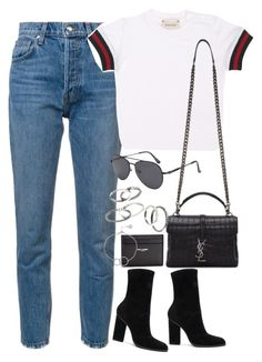 """""""Sem título #1459"""" by oh-its-anna ❤ liked on Polyvore featuring 10 Crosby Derek Lam, Gucci, Yves Saint Laurent, Alexander Wang, MANGO and Chupi"""