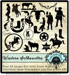 Cowboy Clipart, Rodeo and Western Clipart, OVerlays, Silhouettes, Illustrations Total 25, Digital Stamps, Overlays, or Clip Art on Etsy, $5.50