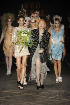 Vivienne Westwood takes to the catwalk with her Red Label Womenswear S/S12 models. Image taken from DazedDigital.com. More images available at: http://www.dazeddigital.com/vivienne-westwood-takeover