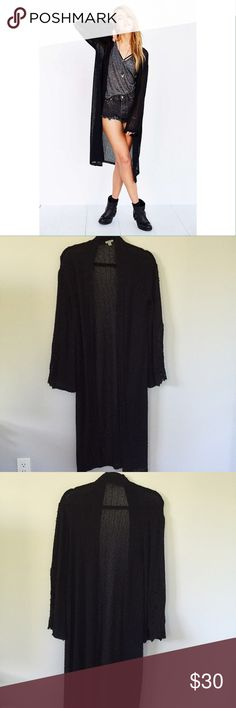 Ecoté Long Crochet Cardigan w/ Lacey Bell Sleeves Never worn before, perfect condition. Long boho-chic cardi that is super cute for a festival. Semi-sheer crotchet material. Ecote Sweaters Cardigans