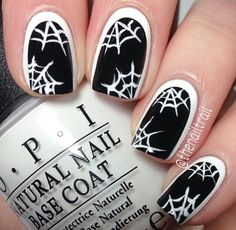 Black and white framed Halloween webs nails
