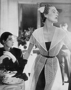 Mary Jane Russell and Barbara Mullen in a photo by Lillian Bassman for Vogue, 1950