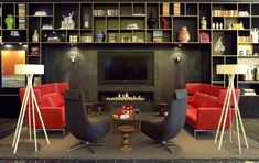 modern interiors with colorful furniture and wall decor