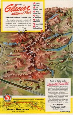 1948 Great Northern Glacier National Park Print Ad Montana