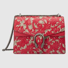 Gucci Women - Gucci Hibiscus Red Dionysus Arabesque shoulder bag w/red leather detail - $3,290.00