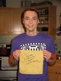 Jim Parsons (Sheldon) on Big Bang Theory with the famous Leonard Nimoy napkin Penny gave him at Christmas.  Best episode EVER!