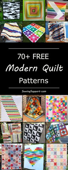 Over 70 free modern quilt patterns and tutorials. Ideas and inspiration for negative space quilts, black and white designs, baby modern quilts with bold geometric patterns, and more.