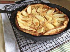 Gluten-Free Dutch Apple Pancake: oat flour, brown rice flour, baking powder, ground cinnamon, salt, large eggs, milk, butter, vanilla extract, granulated sugar, ground cinnamon, ground nutmeg, butter, granny smith apples