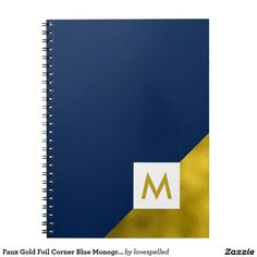 Faux Gold Foil Corner Blue Monogram Notebook
