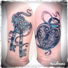 key tattoo  | Double keys and locket. | worldofbeanstattoo