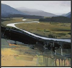 Chris Bushe River Dee near Mar Lodge Contemporary Landscape, Contemporary Paintings, Abstract Landscape, Landscape Paintings, Abstract Paintings, Abstract Art, Illustrations, Painting Inspiration, Cool Art