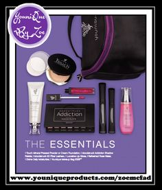 This collection includes: 1 Touch Mineral Foundation Pressed Powder or Cream Foundation 1 Moodstruck Addiction Shadow Palette 1 Moodstruck 3D Fiber Lashes+ 1 Lucrative Lip Gloss 1 Refreshed Pure & Natural Rose Water 1 Divine Daily Moisturizer 1 Younique makeup bag  #youniquecollections #makeupkit #younique #uk #usa #canada #germany #newzealand #australia #mexico #lipgloss #foundation #concealer #moisturiser #bronzer #eyeliners #lipliner #3DfiberLASHESplus #blusher #moodstruck…