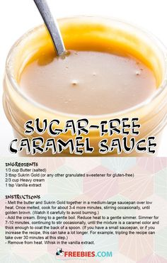 Sugar free caramel sounds too good to be true! This recipe is delicious while also being good for you. Sugar Free Baking, Sugar Free Sweets, Sugar Free Syrup, Sugar Free Recipes, Sugar Free Caramel Syrup Recipe, Yummy Recipes, Recipies, Diabetic Recipes, Cooking Recipes