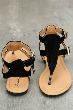 66de834deda5e5 Draya Black Suede Flat Sandals