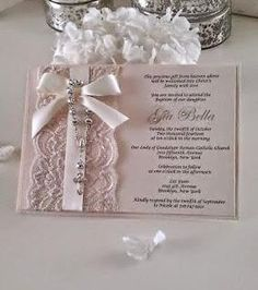 Vintage Lace Rosary Baptism/Christening or Communion Invitation Blush Pink Baby Girl Baptism, Girl Christening, Communion Invitations, Wedding Invitations, Baptism Invitations Girl, Ideas Bautizo, Baptism Cards, Baby Dedication, First Holy Communion