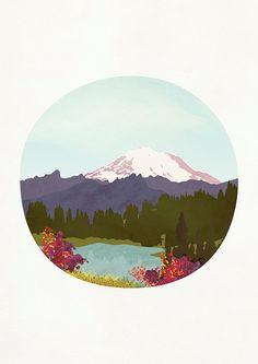 Printable Art Mountain Print Mt Rainier Lake by peachlings on Etsy
