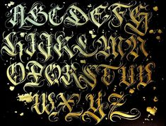 Chicano Tattoos Lettering, Tattoo Lettering Alphabet, Tattoo Lettering Design, Gothic Lettering, Graffiti Lettering Fonts, Creative Lettering, Script Lettering, Gotisches Alphabet, Graffiti Alphabet