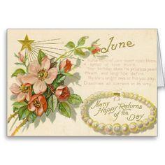 Unique Vintage June Birthday Greeting Card