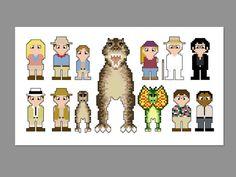 Jurassic Park Pixel People Character Cross Stitch PDF PATTERN ONLY