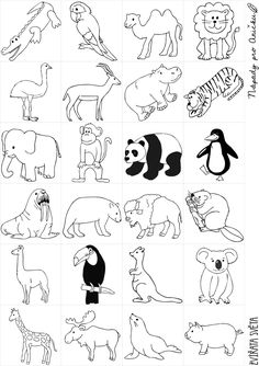 Zoo Animal Coloring Pages, Cute Coloring Pages, Disney Coloring Pages, Doodle Drawings, Animal Drawings, Cute Drawings, Easy Drawings For Kids, Drawing For Kids, Diy Busy Books