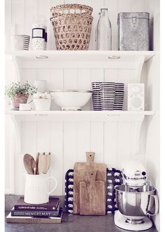 Fresh kitchen styling - I like the open shelves with bead board behind them and the small light sunk into the shelves Kitchen Interior, New Kitchen, Kitchen Decor, Kitchen Stuff, Kitchen Gadgets, Kitchen Ideas, Tidy Kitchen, Minimal Kitchen, Decorating Kitchen