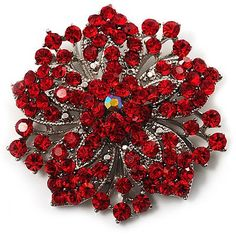 Add a chic finishing touch to your outfit with this glamour Victorian Corsage Flower Brooch. The silver-tone brooch is decorated with an eye-catching combination of red and bright red crystals set in the shape of a beautiful flower.