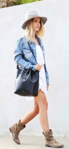 Mija is wearing a denim jacket from Acne Studios, white summer dress from Mango, felt hat from Janessa Leone, bucket bag from Mansur Gavriel and boots from Isabel Marant... | Style Inspiration
