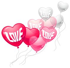 Valentines Day Pink and White Love Heart Baloons PNG Clipart Picture
