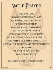 Wolf Prayer Poster Animal Spirit Guide Wicca Parchment Book of Shadows