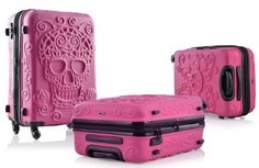 """IT Luggage Embossed Skull PINK 19"""" Travel Trolley ABS Hard Shell Suitcase CARRY ON - My Sugar Skulls"""