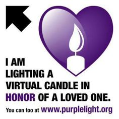 Pancreatic Cancer virtual candle in honor of my Mon who earned her purple wings September 7, 2013!